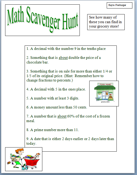 Worksheets Treasure Hunt Math Worksheet kaytes class number systems 2 spring 2013 project 1 math this is my first of the semester in we were to create our own scavenger hunt worksheet