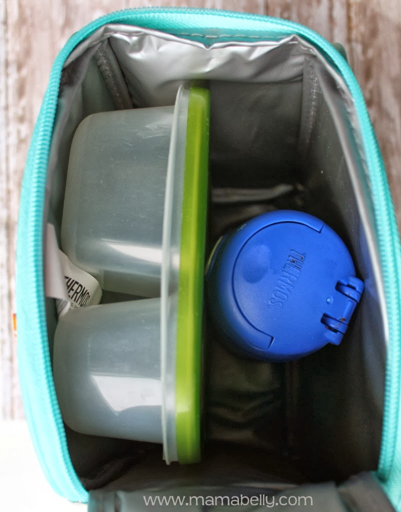 My kids loved that detail! The lunch kit is VERY roomy! It fit our  Easylunchboxes, plus a Thermos FUNtainer water bottle ... 5f63b96548
