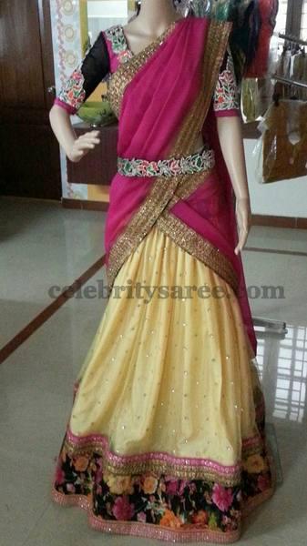 Gold and Pink Floral Half Sari