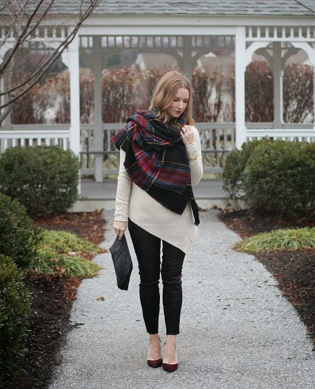 halogen sweater, ASOS scarf, jcre leather leggings, ASOS clutch, Sam Edelman heels