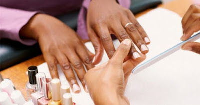 Manicure in nail salon