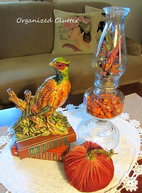 Enesco Vintage Pheasant Figurine, Velvet Pumpkin and Decorated Oil Lamp