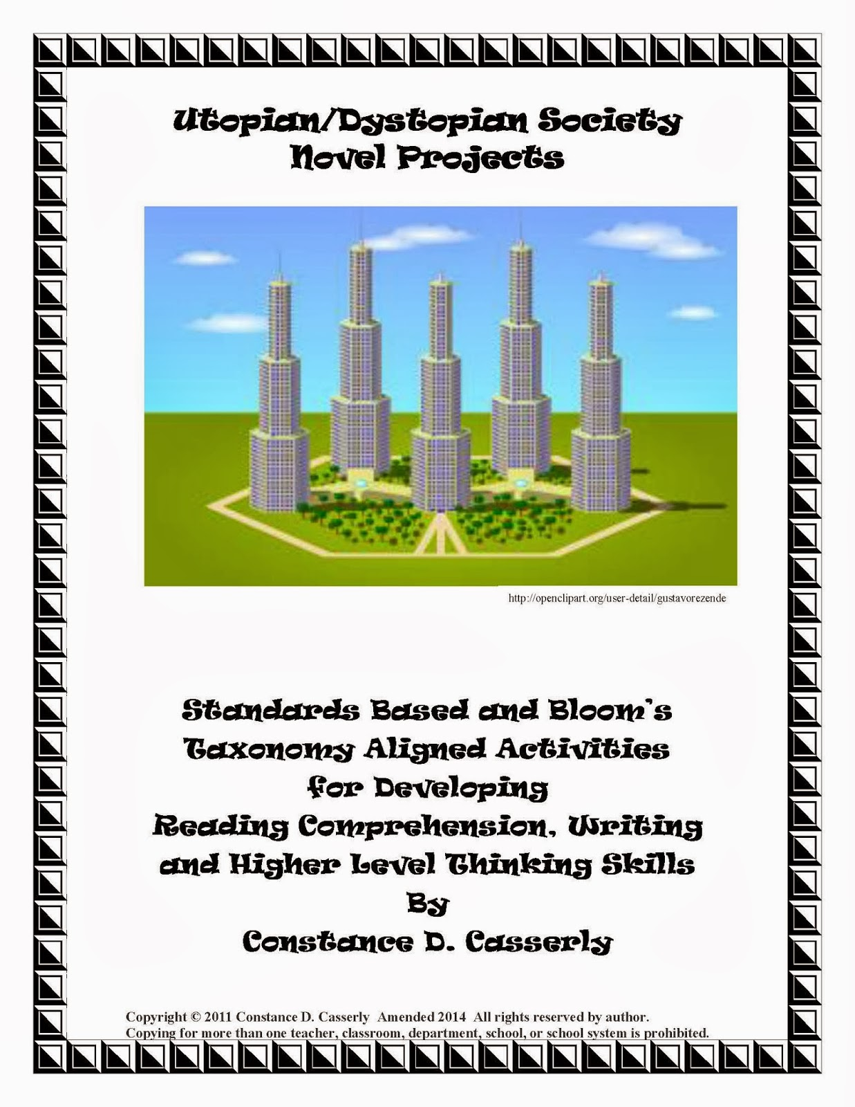 "Middle School and High School Language Arts Activities - ""Utopian and Dystopian Society Novel Projects"" cover"