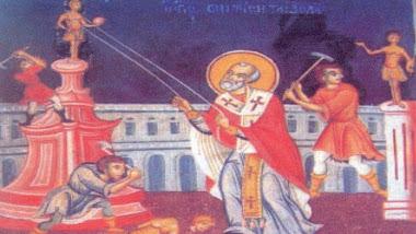 """Ο """"άγιος"""" Νικόλαος συντρίβει τα είδωλα."""