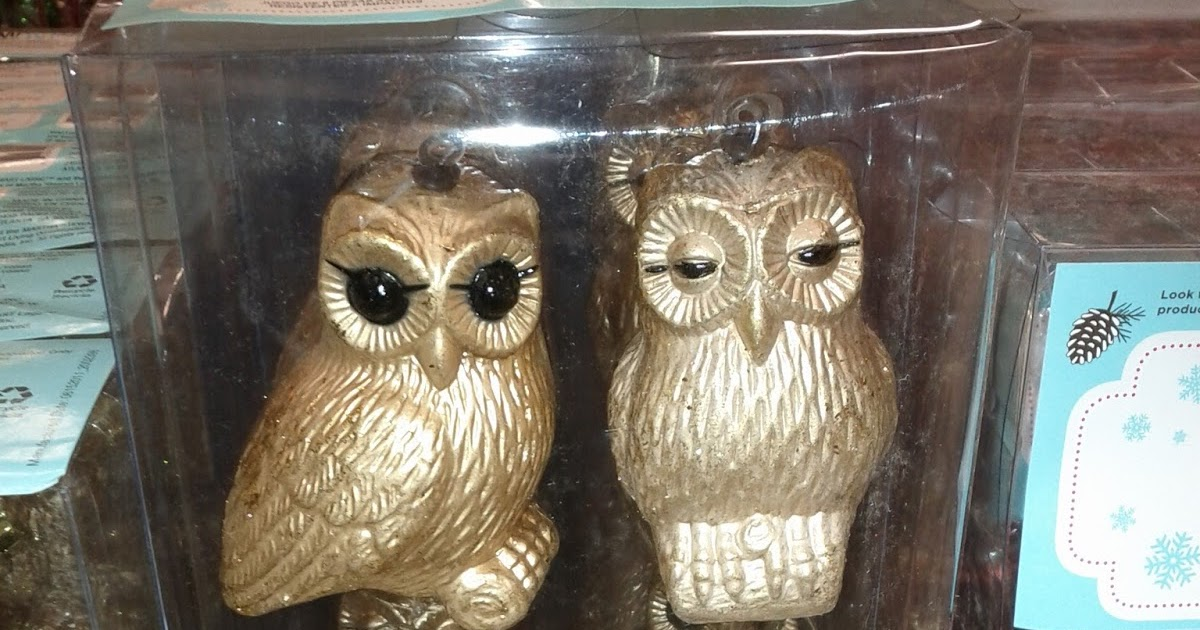 martha stewart gold owl ornaments