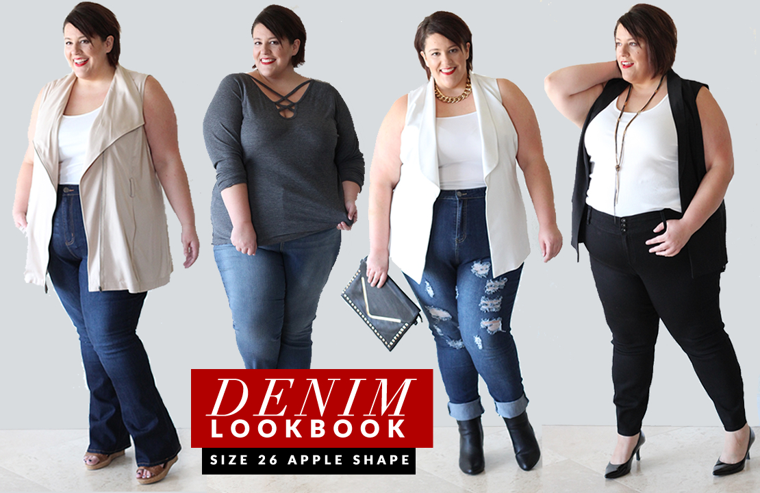 Apple Shaped Plus Size Denim Lookbook - Life and Style of Jessica Kane