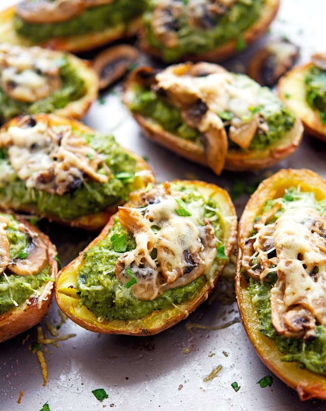 Sauteed Mushroom Gouda and Kale Potato Skins
