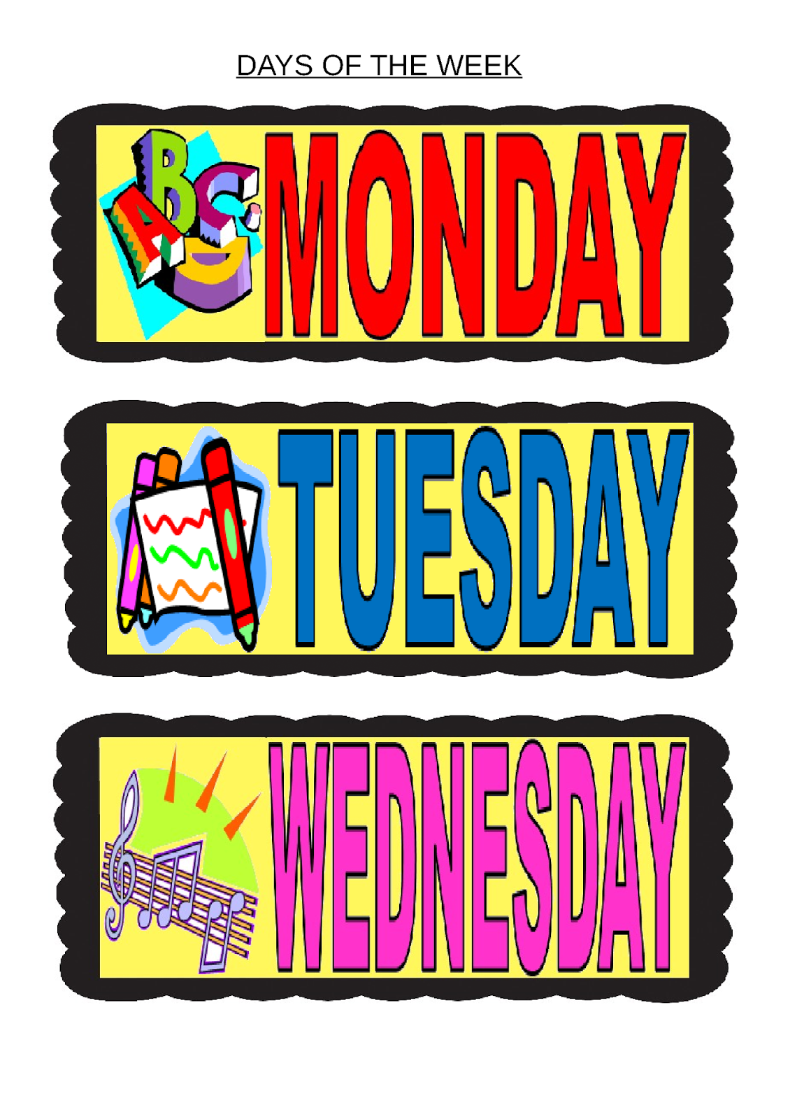 Viewing Gallery For - Days Of The Week Printables