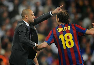 Josep Guardiola and Gabriel Milito