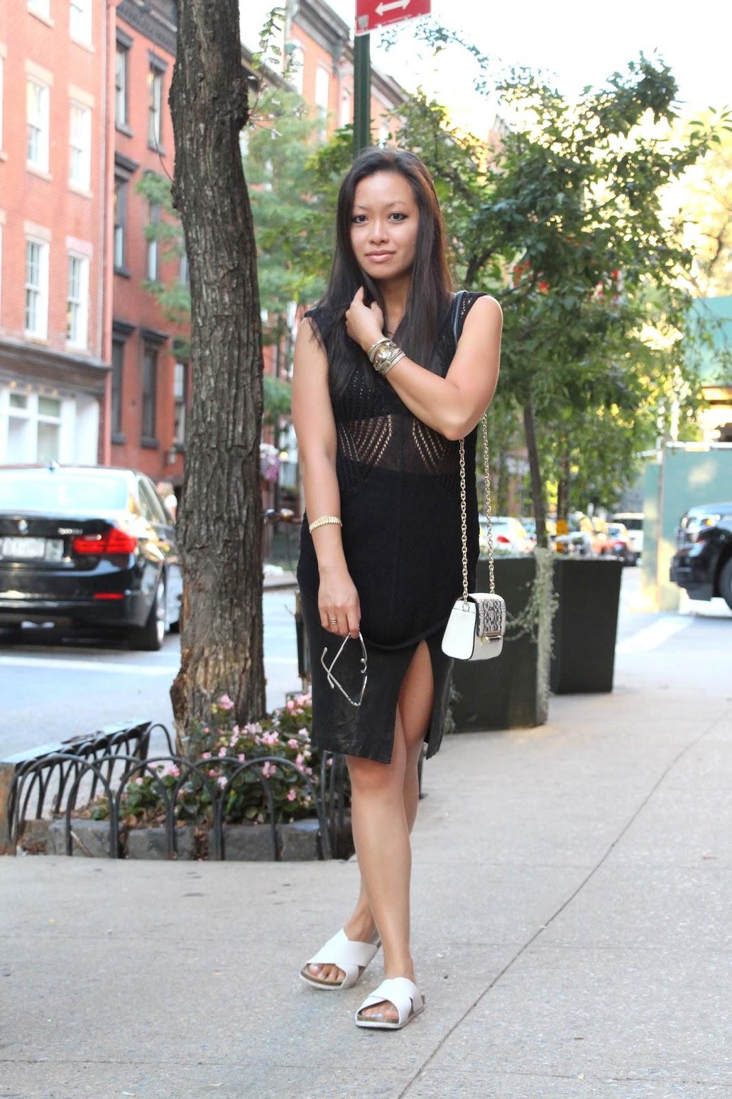 Frame le high leather pencil skirt Helmut Lang black knit top DVF bag