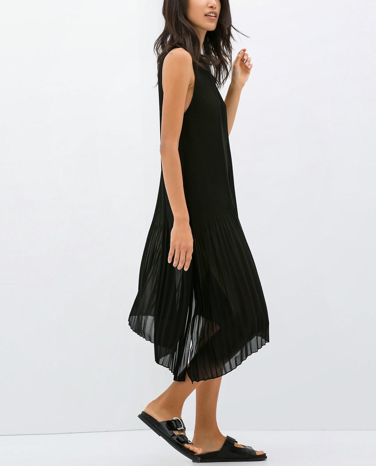 zara black pleated dress