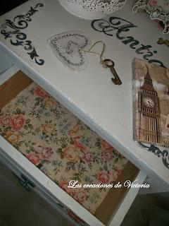 Las creaciones de Victoria. Decoupage en muebles. Restauración de mesita de noches.