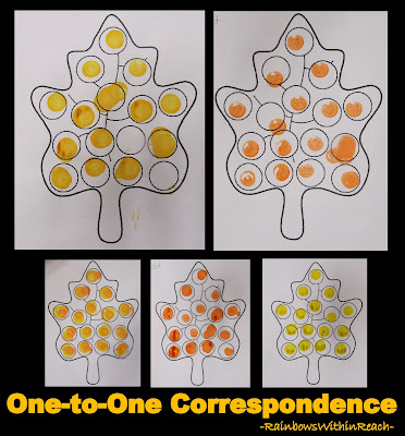 photo of: Leaf Project with One to One Correspondence in Preschool (via RainbowsWithinReach)