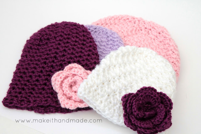 The Bliss Hat-- a gorgeous newborn hat for those sweet, blissful little ones. Free Crochet Pattern by Make It Handmade.