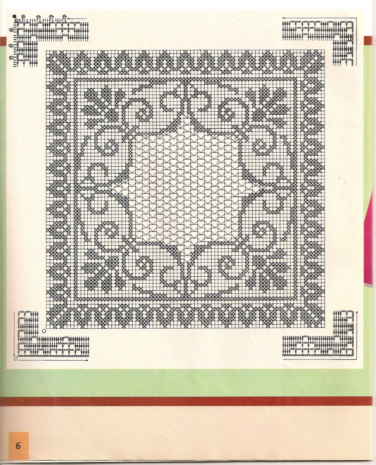 Прямоугольная скатерть филейное вязание 74