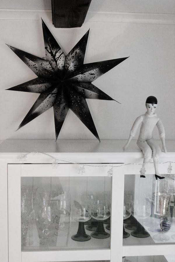 diy stjärna, julstjärna, spraya svart färg, spray, inspiration jul, julen 2013