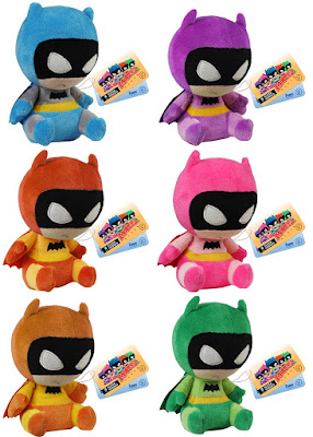 The Rainbow Batman Mopeez Plush Series by Funko - Blue Batman, Purple Batman, Orange Batman, Pink Batman, Yellow Batman & Green Batman