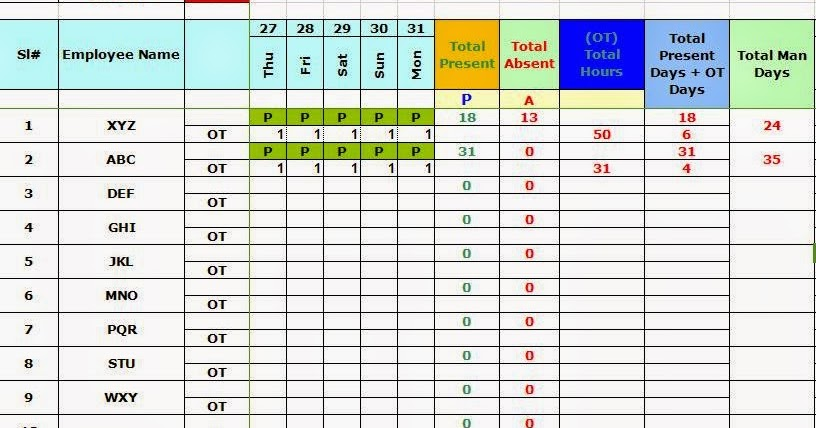 Every Bit Of Life Attendance Sheet With Overtime In Excel