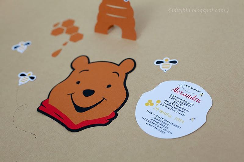 invitatii handmade Winnie the Pooh, pachet petrecere copii