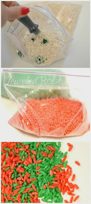 How to make sensory rice that smells just like Christmas (from Growing a Jeweled Rose)