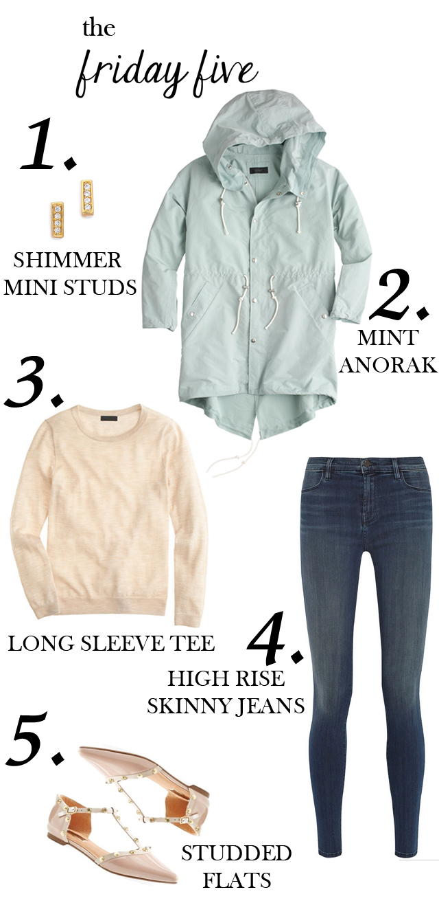the friday five with gorjana studs, mint anorak, cashmere long sleeve sweater, j.brand jeans, studded flats M Loves M @marmar