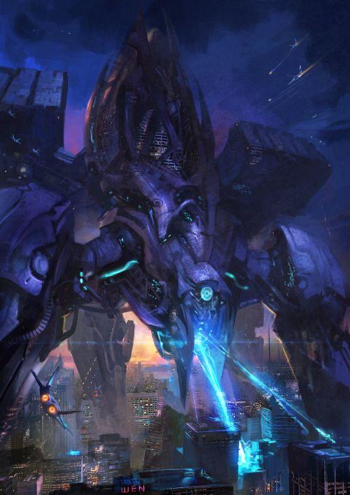 HongWen xaeroaaa deviantart ilustrações fantasia ficção científica Ataque a cidade