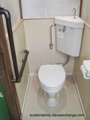 Mochila con tapa lavabo de forma triangular en un baño