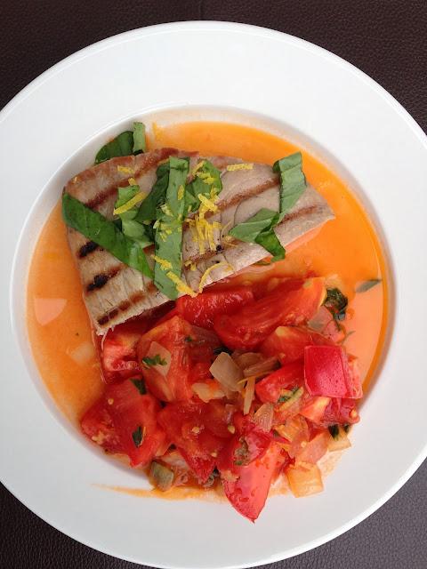 Grilled Tuna Steakand Brandywine Tomato Jam: I gavethese tomato chunks ...