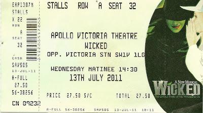 Wicked  Apollo Victoria Theatre ticket