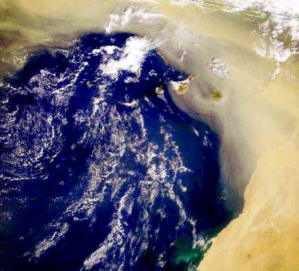 Foto satélite tormenta de arena Canarias, diciembre