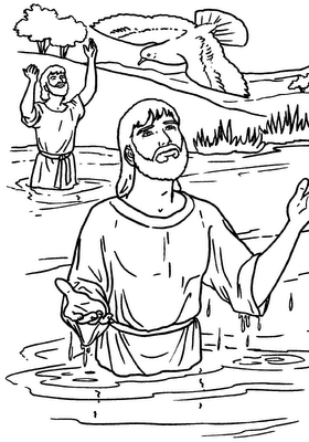 Drawings to color Easter Week Baptism of Jesus to color