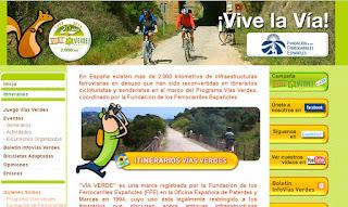 Página principal de la web Vías Verdes