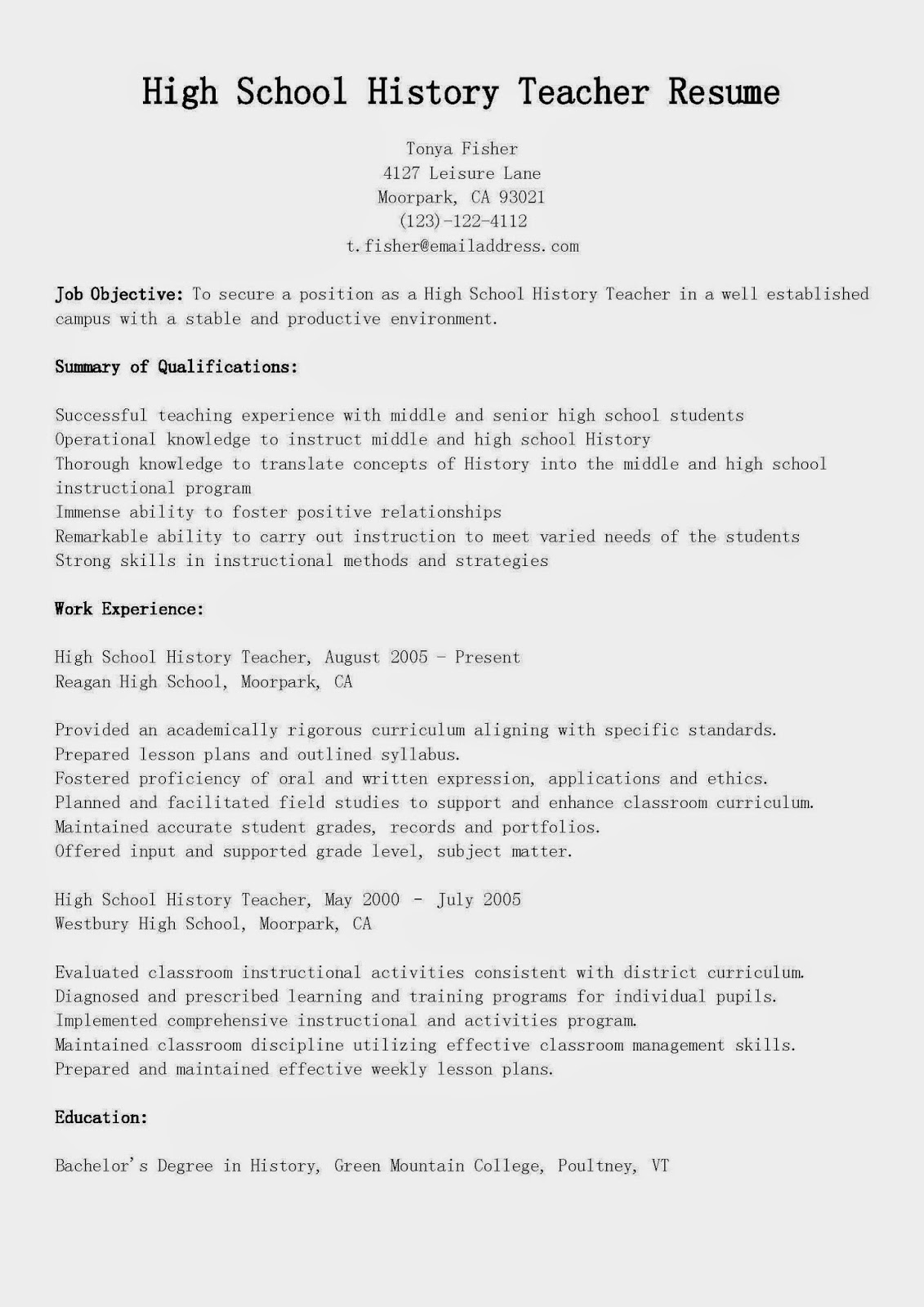 resume samples  high school history teacher resume sample