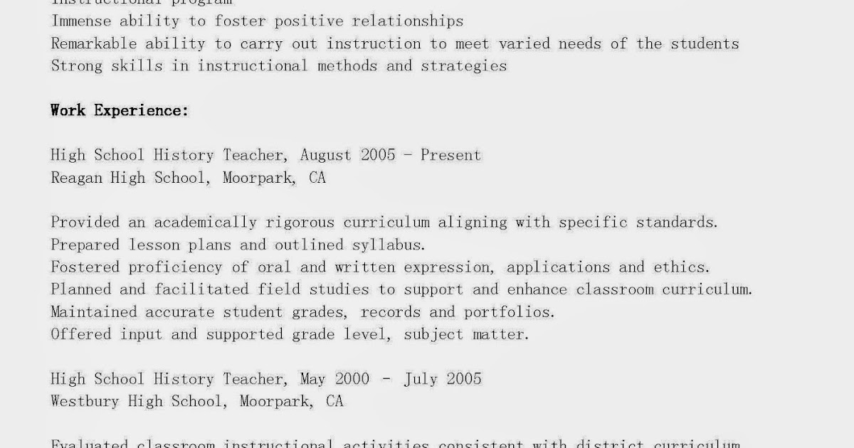 Middle school history teacher resume