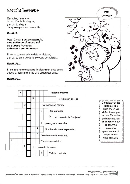 Fichas de canciones para Misa de niños. Actividades | Ana de Austria ...