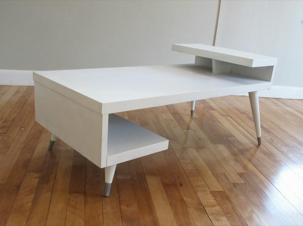 blue lamb furnishings : white step mcm coffee table - sold