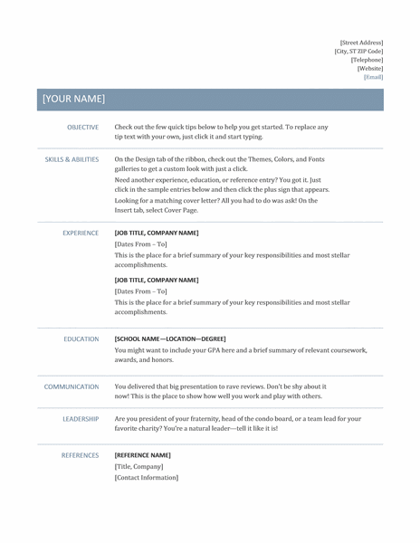 Microsoft Office 365 sample resume templates: Template for resume ...