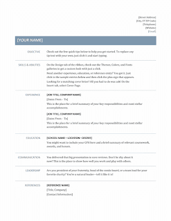 Template for resume, basic, timeless design, Word
