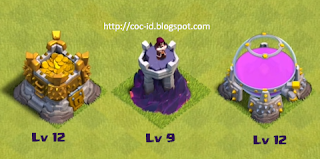 Gold Storage Lv 12, Wizard Tower Lv 9 dan Elixir Storage lv 12