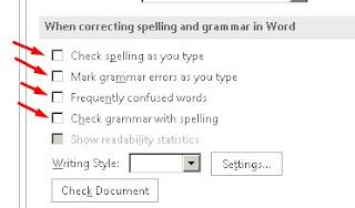 Hilangkan ceklis When correcting spelling and grammar in Word