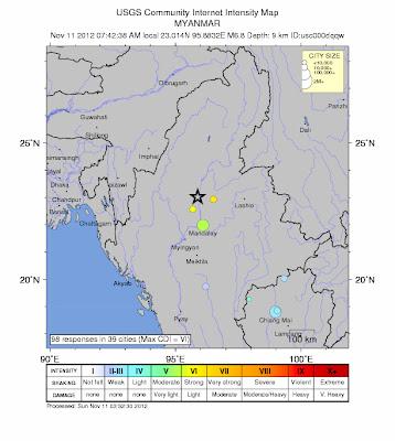 Epicentro sismo 6,8 grados en Birmania, 11 de Noviembre 2012