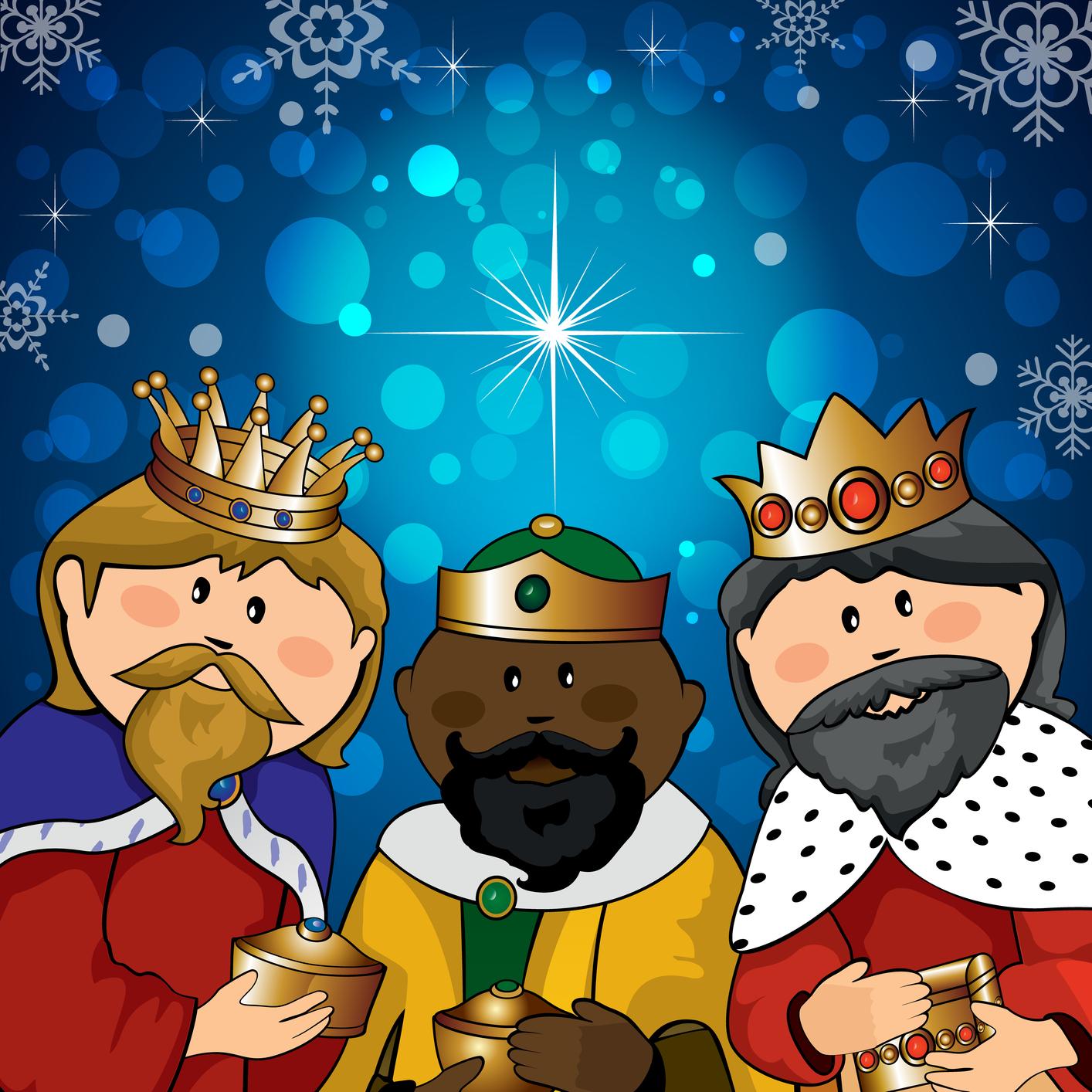 Banco de imgenes Ilustracin colorida de los Tres Reyes Magos en