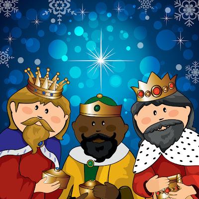 Los Tres Reyes Magos en caricatura de colores brillantes ilustración