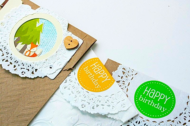 SRM Stickers Blog - Embossed Bags & Doilies by Yvonne - #kraft #bags #embossed #doilies #stickers