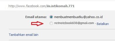 mengganti email facebook dengan email baru