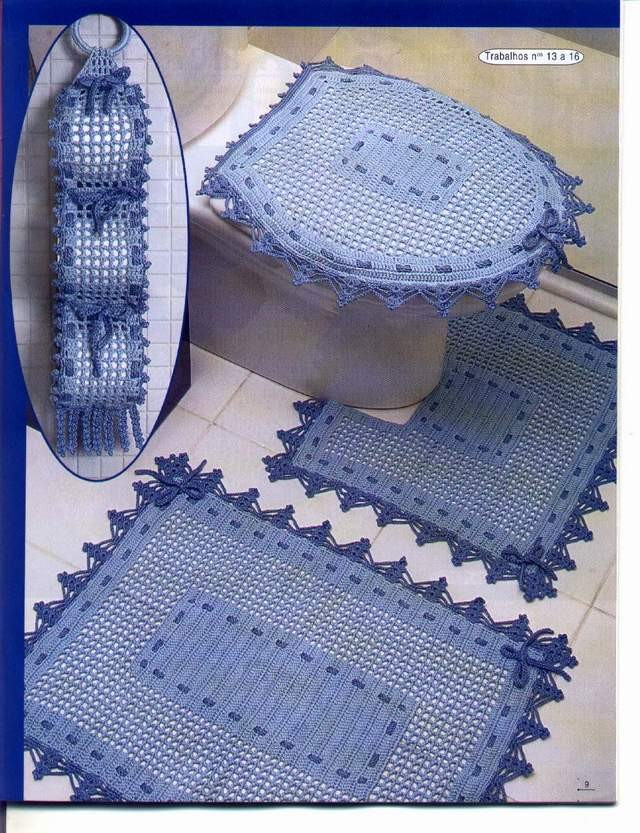 Organizador De Baño A Crochet:Juegos De Bano En Crochet
