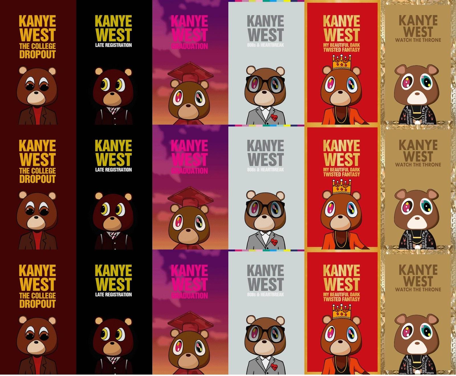Kanye West Bear Albums tiled