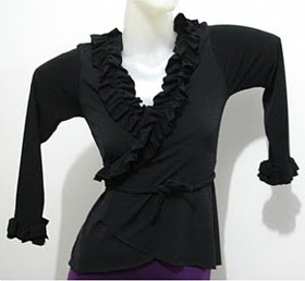 Blouse BLE004 Black with ruffles - US$ 45.00