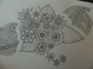 penciled flowers