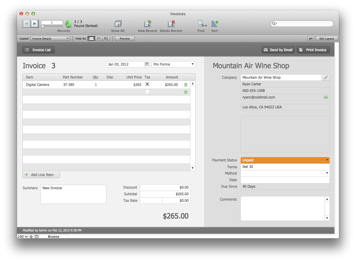 The Mac Office: Estimates and Invoices: FileMaker Pro 12 Starter